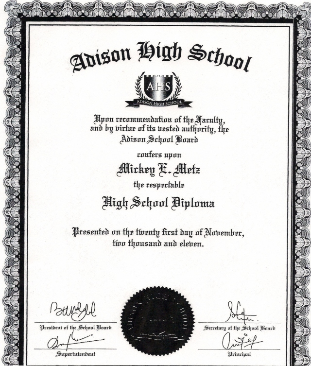 This is the FAKE High School Diploma of Sheriff Metz that has NO VALUE and is not accredited anywhere, and Metz lied to the press and a Parkersburg newspaper about this document.