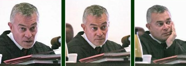 The three faces of evil photo of JUDGE RICHARD A FACEMIRE who after reviewing documents is clearly guilty of showing a high degree of bias in the Travesty of Justice case and will most likely be the next judge ridiculed by the national press while making fun of Senator Manchin and one mad little midget judge from Gilmer County!